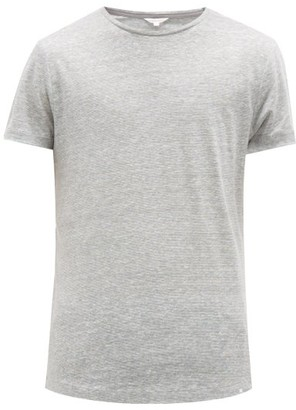 Orlebar Brown Ob T Striped Linen T Shirt - Mens - Grey