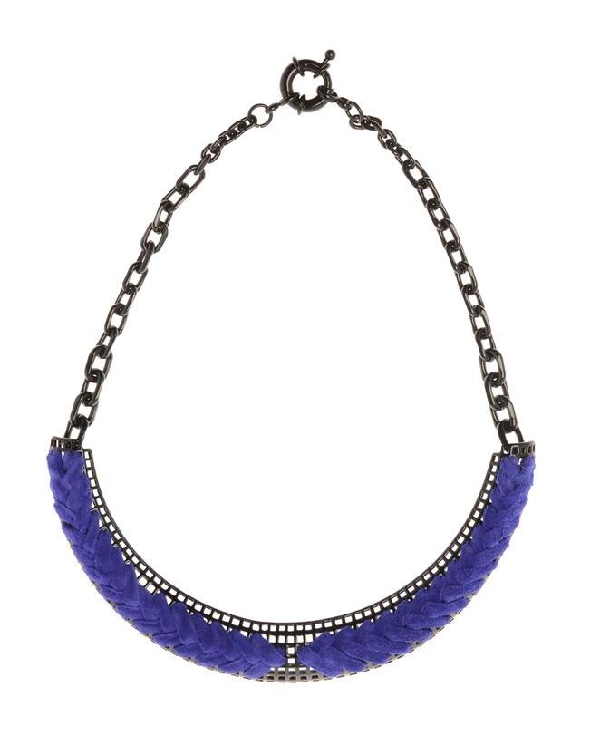 GILES & BROTHER Lacquered Necklace Interwoven with Suede