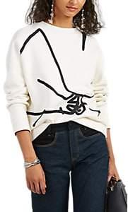 Colovos Women's Hand-Print Cotton Oversized Sweatshirt - White