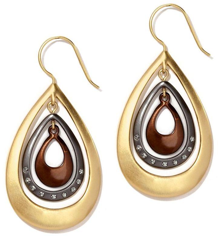 Kenneth Cole New York Tri-Tone Orbital Teardrop Earrings