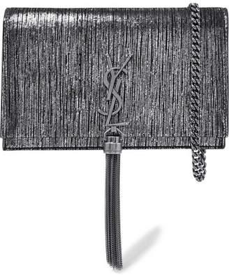 Saint Laurent Monogramme Kate Small Metallic Suede Shoulder Bag - Silver