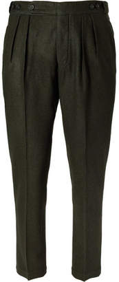 Massimo Alba Slim-fit Tapered Puppytooth Wool Trousers - Green