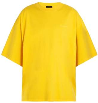 Balenciaga Self Help Print Cotton T Shirt - Mens - Yellow