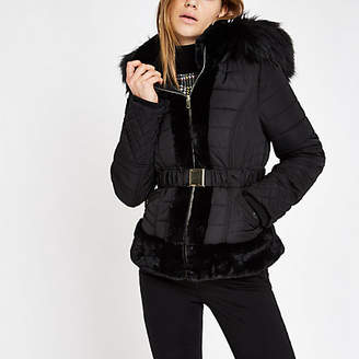 River Island Black padded faux fur hood belted coat
