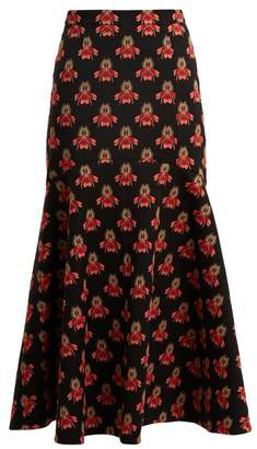 Temperley London Jupiter Flared Floral Jacquard Midi Skirt - Womens - Black Multi