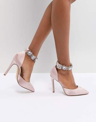 Public Desire Camly Pink Clear Detail Embellished Court Shoes