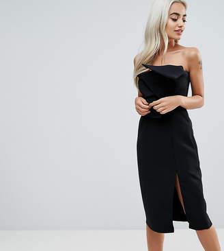 True Decadence Petite Bow Front Bandeau Pencil Dress With Split Detail