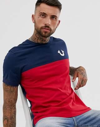 True Religion americana colour block t-shirt in navy
