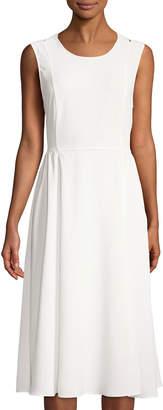 Neiman Marcus Cross-Back Sleeveless Midi Dress