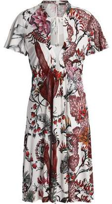 Just Cavalli Flared Ruffled Printed Stretch-Jersey Dress