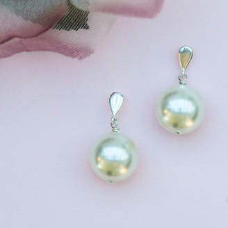 Crystal Pearl Chez Bec Jackie O Large Drop Bridal Earrings