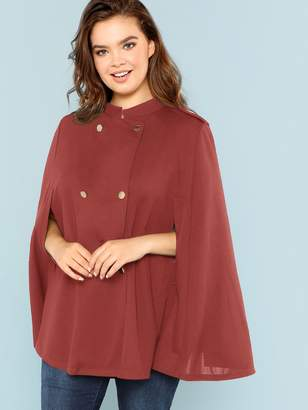 Shein Plus Double Breasted Solid Cape Coat