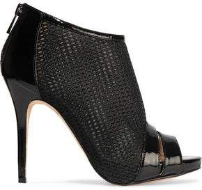 Macbeth Lucy Choi London Patent Leather-Trimmed Mesh Ankle Boots
