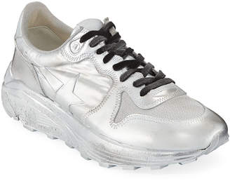 Golden Goose Men's Metallic Leather Running Sneakers