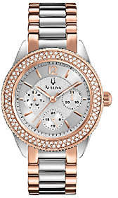 Bulova Ladies Two-Tone Crystal Accent BraceletWatch, Rosetone $425 thestylecure.com
