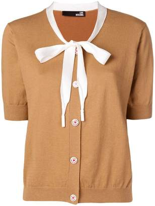 Love Moschino neck tie cardigan