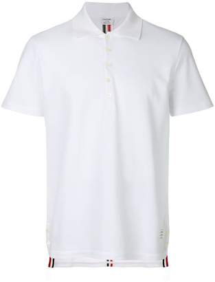Thom Browne Center-Back Stripe Relaxed Fit Short Sleeve Pique Polo