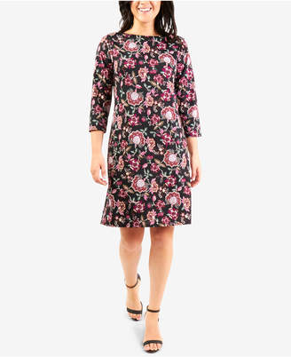 NY Collection Petite Printed Jacquard Necklace Dress