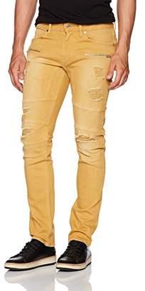 GUESS Men's Slim Taper Destroy Jean in Dusty Yellow wash