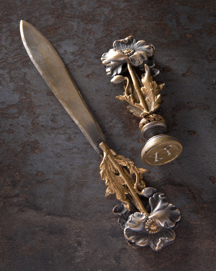 Horchow Letter Opener and Seal, Art Nouveau
