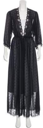 Christian Dior Polka-Dot Long Sleeve Nightgown Black Polka-Dot Long Sleeve Nightgown