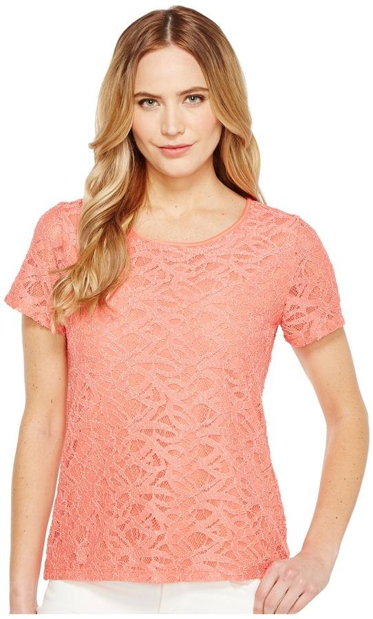Calvin Klein - Short Sleeve Abstract Lace Top Women's Short Sleeve Knit