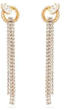 Miu Miu Crystal Embellished Tassel Drop Earrings - Womens - Crystal