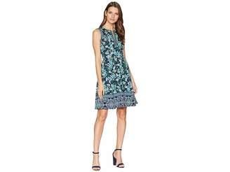 Maggy London Vine Flower Border Printed Scuba Fit and Flare Dress