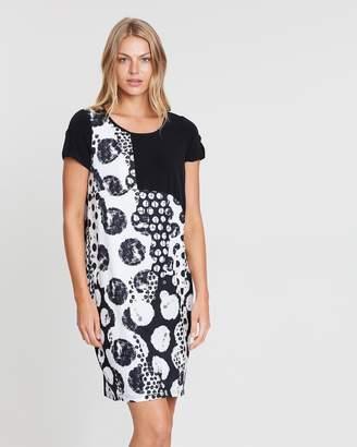 Short Sleeve Black Contrast Dress