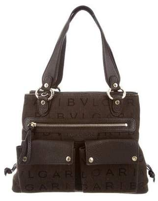Bvlgari Leather-Trimmed Canvas Satchel
