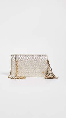 Tory Burch Fleming Metallic Flat Wallet Crossbody Bag