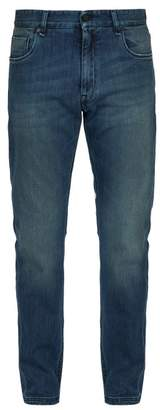 Fendi Washed Slim Leg Jeans - Mens - Denim