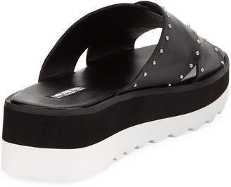 Charles David Buxom Studded Leather Sport Slide Sandals