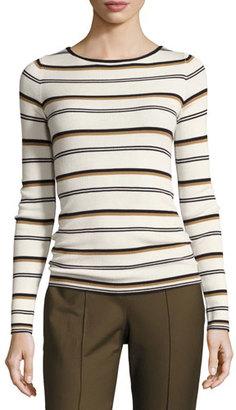 Theory Mirzi M Refine Merino Wool Striped Sweater, White $245 thestylecure.com