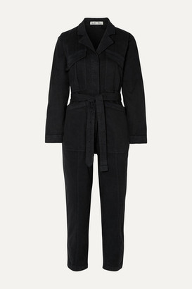 Alex Mill Expedition Belted Stretch-tencel And Cotton-blend Twill Jumpsuit - Black