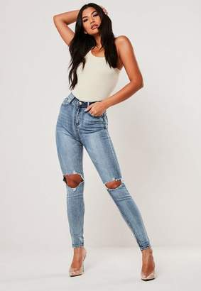 Missguided Petite Blue High Waisted Open Knee Skinny Jeans