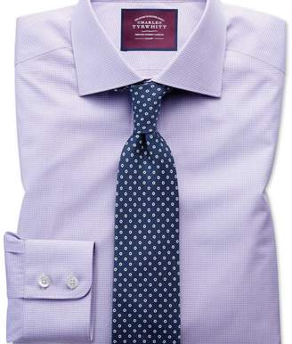Charles Tyrwhitt Slim fit semi-cutaway luxury poplin lilac and white shirt