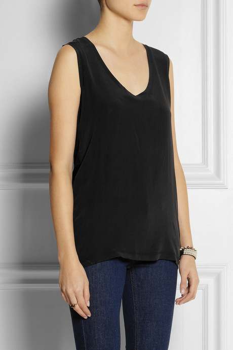 Victoria Beckham Denim Washed-silk and jersey tank