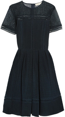 MICHAEL Michael Kors - Broderie Anglaise Cotton-blend Dress - Midnight blue $255 thestylecure.com
