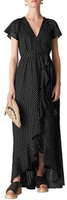 Whistles Dot-Print Wrap Maxi Dress