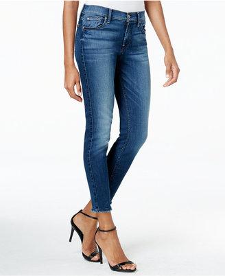 7 For All Mankind Rich Coastal Blue Wash Ankle Skinny Frayed-Hem Jeans $169 thestylecure.com