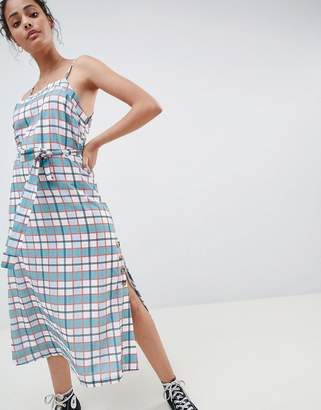 Glamorous Midi Cami Dress With Tie Waist And Button Detail In Check