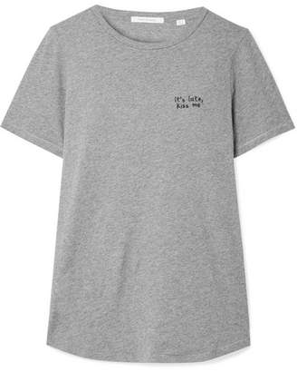 Chinti and Parker Kiss Me Embroidered Cotton-jersey T-shirt - Gray
