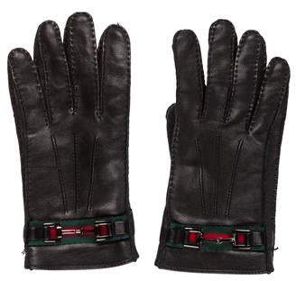 Gucci Leather Web Gloves