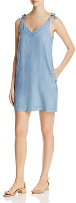Lilla P Bow Strap Chambray Shift Dress $178 thestylecure.com