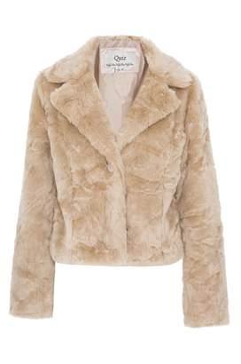 Quiz Stone Faux Fur One Button Short Jacket