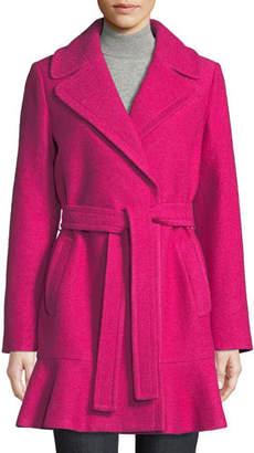 Kate Spade Transitional Boiled Flounce-Hem Wool Coat