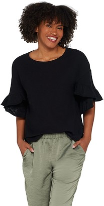 Vince Camuto Drop Shoulder Slub Knit Ruffle Sleeve Blouse