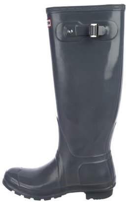 Hunter Rubber Knee-High Rain Boots Grey Rubber Knee-High Rain Boots
