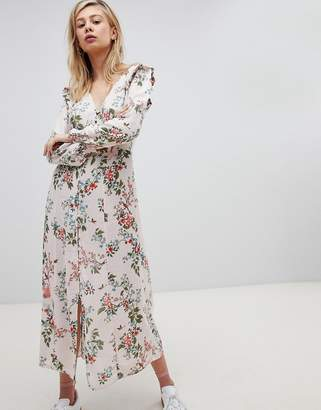 New Look Button Front floral Printed Maxi Tea Dress